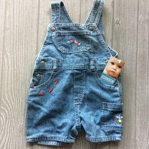 Infant denim overall shorts